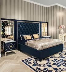Luxury Bed Frame Deco Bedroom With Stripes Wallpaper With Navy Blue Bed Frame