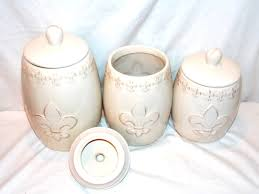 3pc kitchen fleur de lis distressed white canister set storage