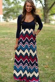 dark blue color block chevron print maxi dress casual dresses