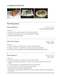 Restaurant Resume Sample by Chef Resume Sushi Chef Presentasjon Examples Of Resumes Cook Chef
