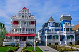 architecture astounding red and blue cape may victorian house
