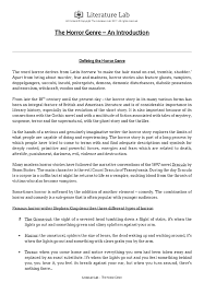 subjects english the horror genre an introduction worksheet