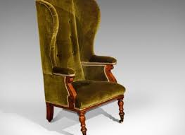 green velvet winged fireside chair furniture antique chairs