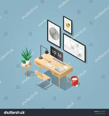 Home Office Concept Isometric Vector Home Office Concept Illustration Stock Vector