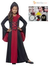age 3 10 girls hooded vampire costume make up kit fancy dress