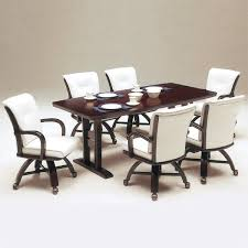 Dining Chairs With Casters Tidy And Neat Home With White Wooden Dining Chairs Dining Chairs