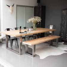 fjord rectangle dining table and bench set dark stain oak and