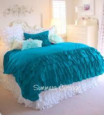aqua ruffle comforter aqua teal turquoise ruffled duvet comforter cover set