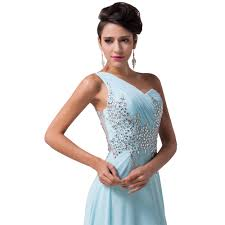 aliexpress com buy one shoulder elegant long light blue prom