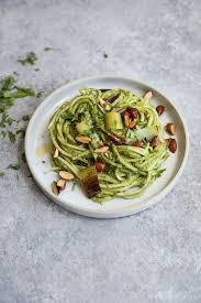 pasta salad pesto charred leek pesto pasta salad with almonds feed me phoebe