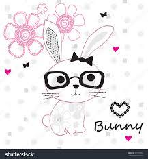 cute bunny glasses on polka stock vector 387735052 shutterstock