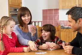 family cards in kitchen stock photo colourbox