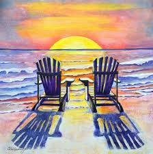 Chairs On A Beach Beach Chair Paintings Sadgururocks Com