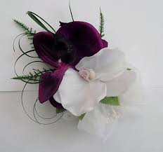 orchid wrist corsage artificial wedding flowers wrist corsage in purple white