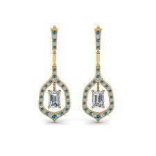 emerald drop emerald drop diamond earring with blue topaz in 14k yellow