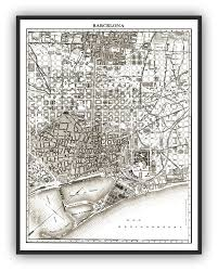 Map Of Barcelona 1900 U0027s City Lithograph Map Of Barcelona