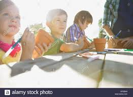 Decorating Clay Pots Kids Kids Decorating Terracotta Pots Together Stock Photo Royalty Free