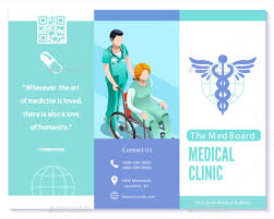 trifold brochure medical clinic blue vector basic template layout