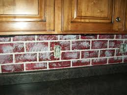 faux red brick backsplash kitchen design with white border