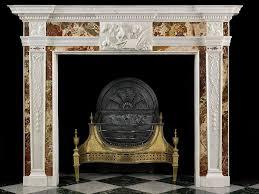 antique irish georgian white and diaspora marble fireplace mantel