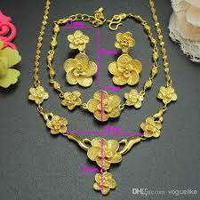 gold filled necklace set images Xuping fashion wedding jewelry set 24k yellow gold filled flower jpg