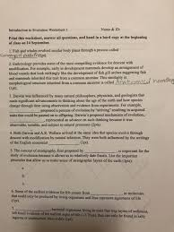 introduction to evolution worksheet 1 name u0026 id p chegg com