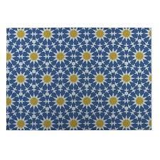 kavka designs blue yellow sun burst 2 x 3 indoor outdoor floor