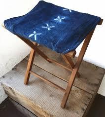 cross stitch shibori dyed camp stool home furniture juniper