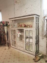 Farmhouse China Cabinet Chippy Shabby Chic Vintage Cabinet From Old Windows By The