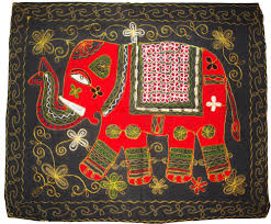 indian wall hanging home decor jaipuri elephant hand embroider