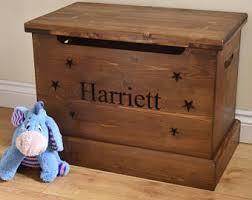solid wooden toy box childrens name storage chest seat