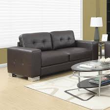 Modern Faux Leather Sofa Shop Monarch Specialties Modern Brown Faux Leather Sofa At