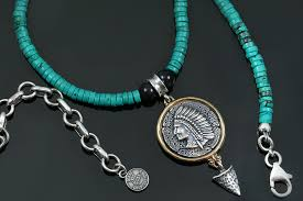 beaded silver necklace images Cherokee native american turquoise beaded silver necklace bnk 174 jpg