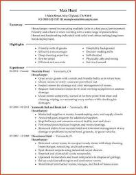 Example Housekeeping Resume by Resume For Housekeeper Example Sample Resume Housekeeping
