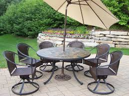Swivel Wicker Patio Chairs oakland living 9 pc patio dining set w 54
