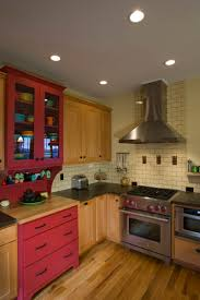 kitchen coffered ceiling with stainless steel and glass