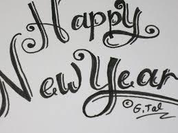 write happy new year card easy fancy swirly letters