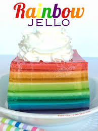 layered rainbow shots rainbow jello together as family