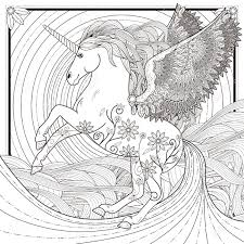 fantastic unicorn coloring page in exquisite style royalty free