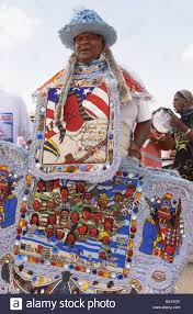 big mardi gras big chief of a mardi gras indian tribe displays his tribe s stock