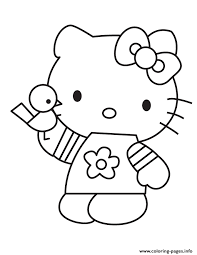 cartoon kitty holding bird coloring pages printable