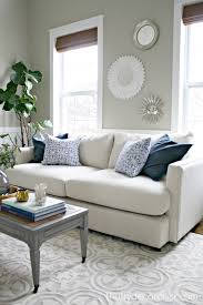 our new sofa in the living room from thrifty decor