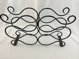 twisted wrought iron wine rack holds 6 bottles for countertop or