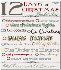12 days of christmas bucket list free printable diy crafts