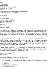fashion designer cover letter applying for a job
