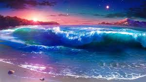 starry night over the seashore fantasy landscape wallpaper