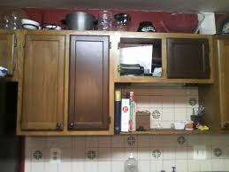 Kitchen Shelves Vs Cabinets Stained Kitchen Cabinets With Painted Doors Interesting Stained