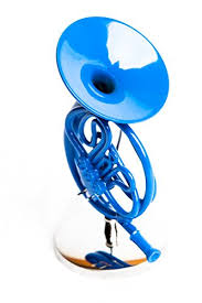 blue horn ornament with stand display stands