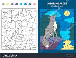 wood animals coloring page kids wolf stock vector 460819684
