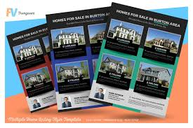 multiple home listing flyer template flyer templates creative